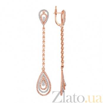 Золотые серьги-подвески с цирконием Фабьен VLT--ТТТ2365-2