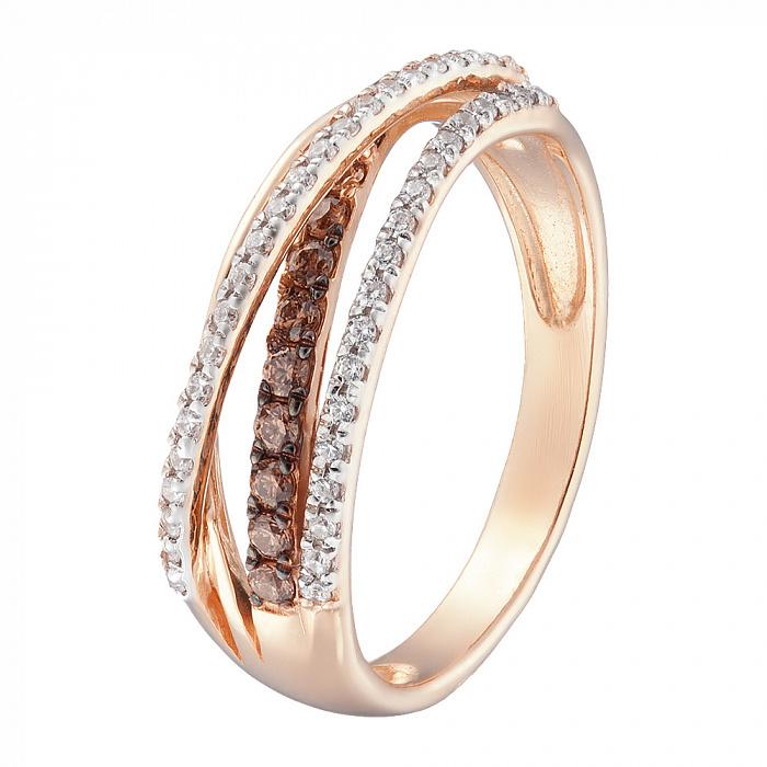 Кольцо в красном золоте Шерон с фианитами 000080335