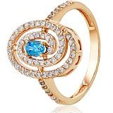 Золотое кольцо с топазом и фианитами Делфина