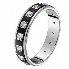 Кольцо в белом золоте Амира с бриллиантами и эмалью