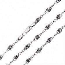 Серебряная цепочка Бесконечность с разноформатными звеньями, 4,5мм