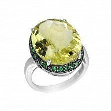 Серебряное кольцо Гвиневера с оливковым кварцем и зелеными фианитами