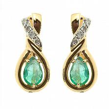 Золотые серьги с бриллиантами и изумрудами Наяда