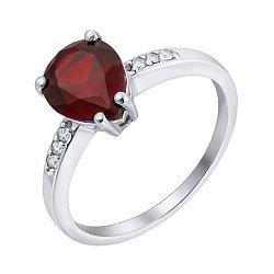 Серебряное кольцо с гранатом и фианитами 000063218