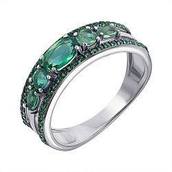 Серебряное кольцо с зеленым кварцем и фианитами 000063389