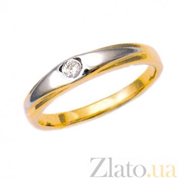 Золотое кольцо в красном цвете с бриллиантом Никс 000021394
