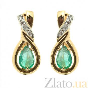 Золотые серьги с бриллиантами и изумрудами Наяда ZMX--EE-5513y_K