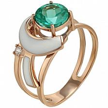 Золотое кольцо Сан-Ремо с кварцем, цирконием и эмалью