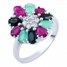 Серебряное кольцо Лакшми с рубинами, изумрудами, сапфирами и фианитами