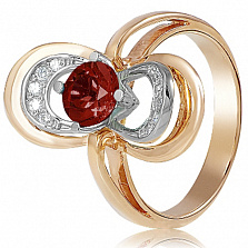 Золотое кольцо с гранатом и фианитами Теодора