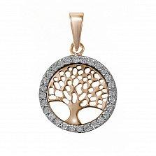 Золотой кулон Дерево жизни в желтом цвете с бриллиантами
