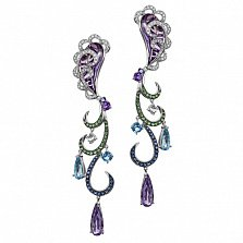 Золотые серьги с аметистами, сапфирами и бриллиантами Виолетта