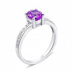 Серебряное кольцо с аметистом и фианитами 000135967