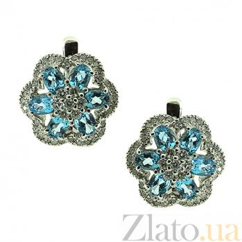 Золотые серьги с бриллиантами и топазами Кларетта ZMX--ET-6624w_K