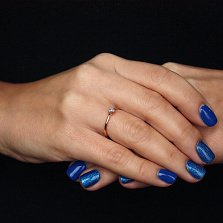 Золотое кольцо Центр чувств с бриллиантом и алмазной насечкой