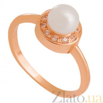 Золотое кольцо с жемчугом и фианитами Первый поцелуй 000024350