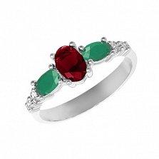 Серебряное кольцо Ундина с гранатом, зеленым агатом и фианитами