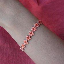 Серебряный браслет Венок из плюмерии с эмалью кораллового цвета