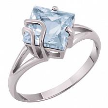 Золотое кольцо Модерн с голубым топазом