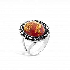 Серебряное кольцо Эльвира с янтарем и чернением