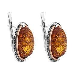 Серебряные серьги с золотыми накладками и янтарем 000067100