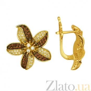 Серьги из желтого золота с фианитами Эйприл VLT--ТТ289-1