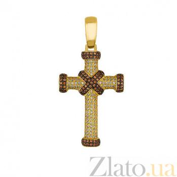 Золотой крестик с фианитами Спаситель VLT--ТТ3324-1