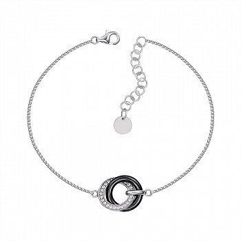 Серебряный браслет с керамикой и фианитами 000147507