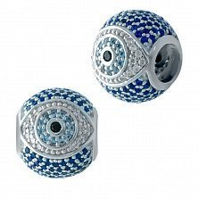 Серебряный шарм-оберег Глаз с синими, голубыми, белыми и черным фианитами