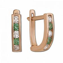 Золотые серьги с белыми и зелеными фианитами Дормео