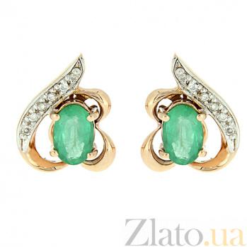 Золотые серьги с бриллиантами и изумрудами Алия ZMX--EE-5512_K