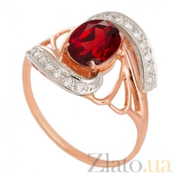 Золотое кольцо с гранатом и фианитами Вивиана VLN--112-841-3
