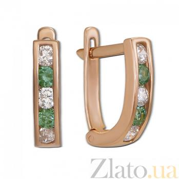 Золотые серьги с белыми и зелеными фианитами Дормео 2076/1з