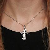 Серебряный крест НИКА с черной эмалью