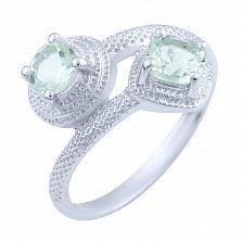 Кольцо из серебра Шаиста с зелеными аметистами