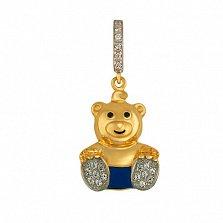 Детский кулон Мишка из желтого золота с фианитами