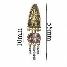 Золотой подвес с бриллиантами и аметистом Птицы