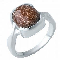 Серебряное кольцо Лагос с завальцованным авантюрином и шахматной огранкой