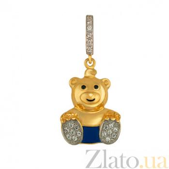 Детский кулон Мишка из желтого золота с фианитами VLT--Т341-5