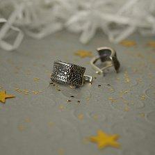 Серебряные серьги Карина с узорами и чернением
