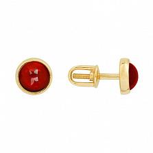 Золотые сережки-пуссеты Искра с гранатом