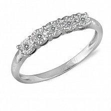 Кольцо из белого золота Алисия с дорожкой из пяти бриллиантов и насечкой