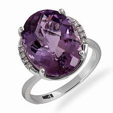 Кольцо в белом золоте Анна с аметистом и бриллиантами