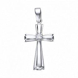 Декоративный крестик из белого золота с бриллиантом 000125492