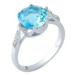 Серебряное кольцо с нано аквамарином и фианитами 000105133