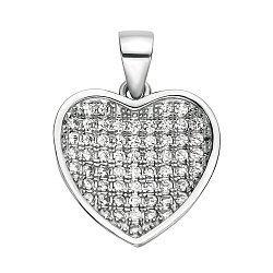 Серебряный кулон-сердце с фианитами 000106921