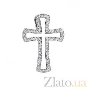 Золотой крестик Сияние дня в белом цвете с бриллиантами VLA--34039