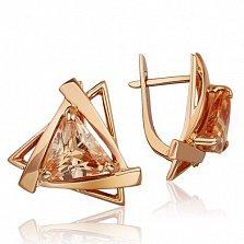 Золотые серьги Триолетте с фианитами цвета шампань