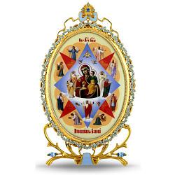 Серебряная икона с позолотой и голубыми фианитами Богородица Неопалимая Купина 000004143
