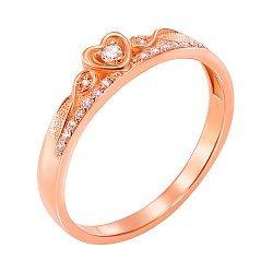 Кольцо-корона из красного золота с фианитами 000000255